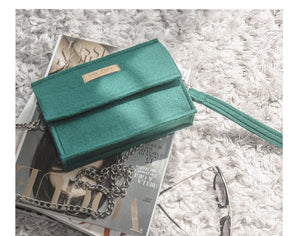 Hannah in Dark Green | Shoulder bag + Chain Strap