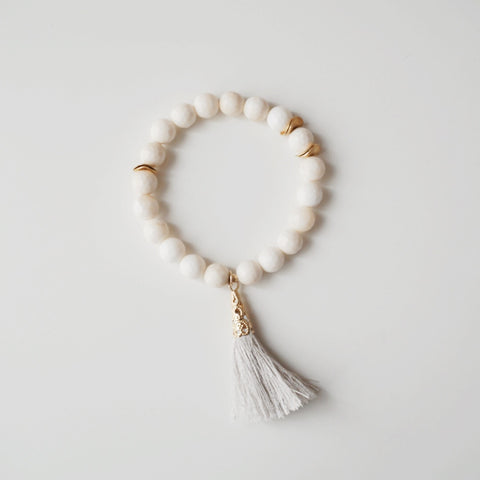 8mm Bone Ivory / GF Discs / Light Grey Tassel Bracelet