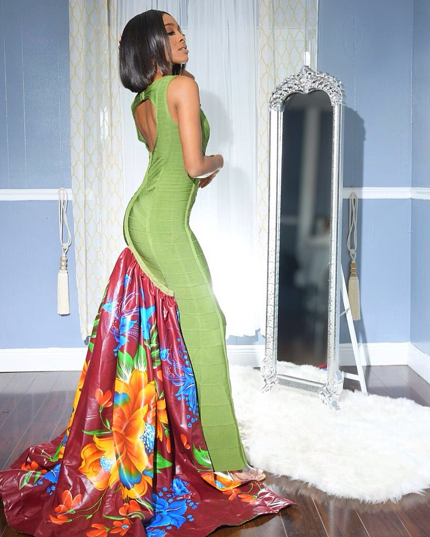 """Queen of the Earth"" Peak-A-Boo Bandage Gown"