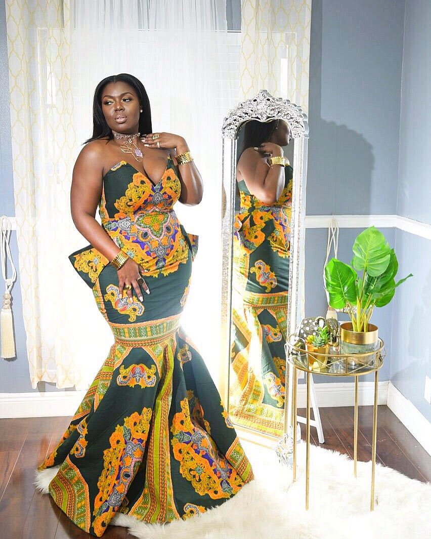 """Goddess of the Forest"" Ankara Mermaid Gown"