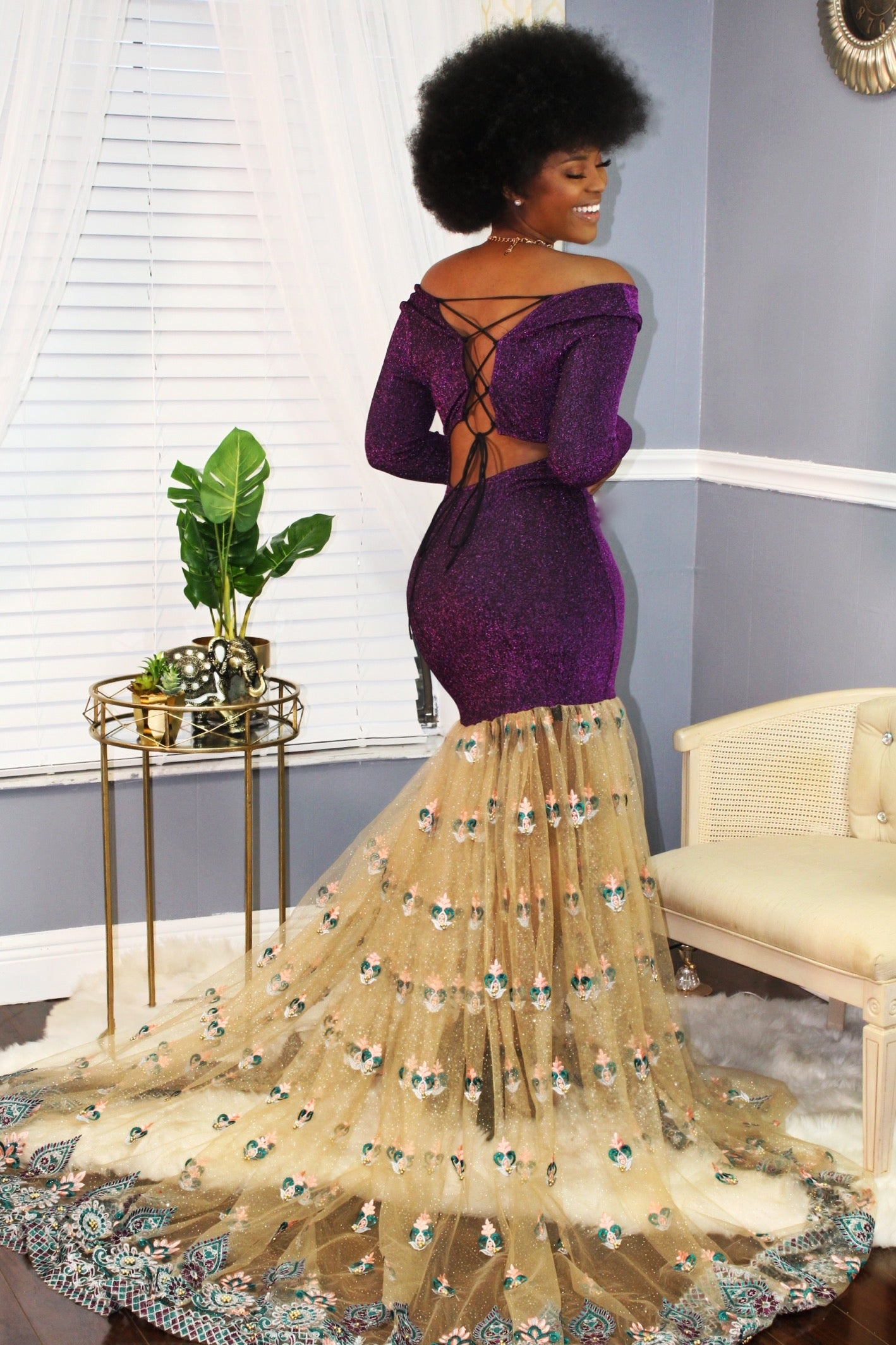 """Purple Gaze"" Laced Gown"