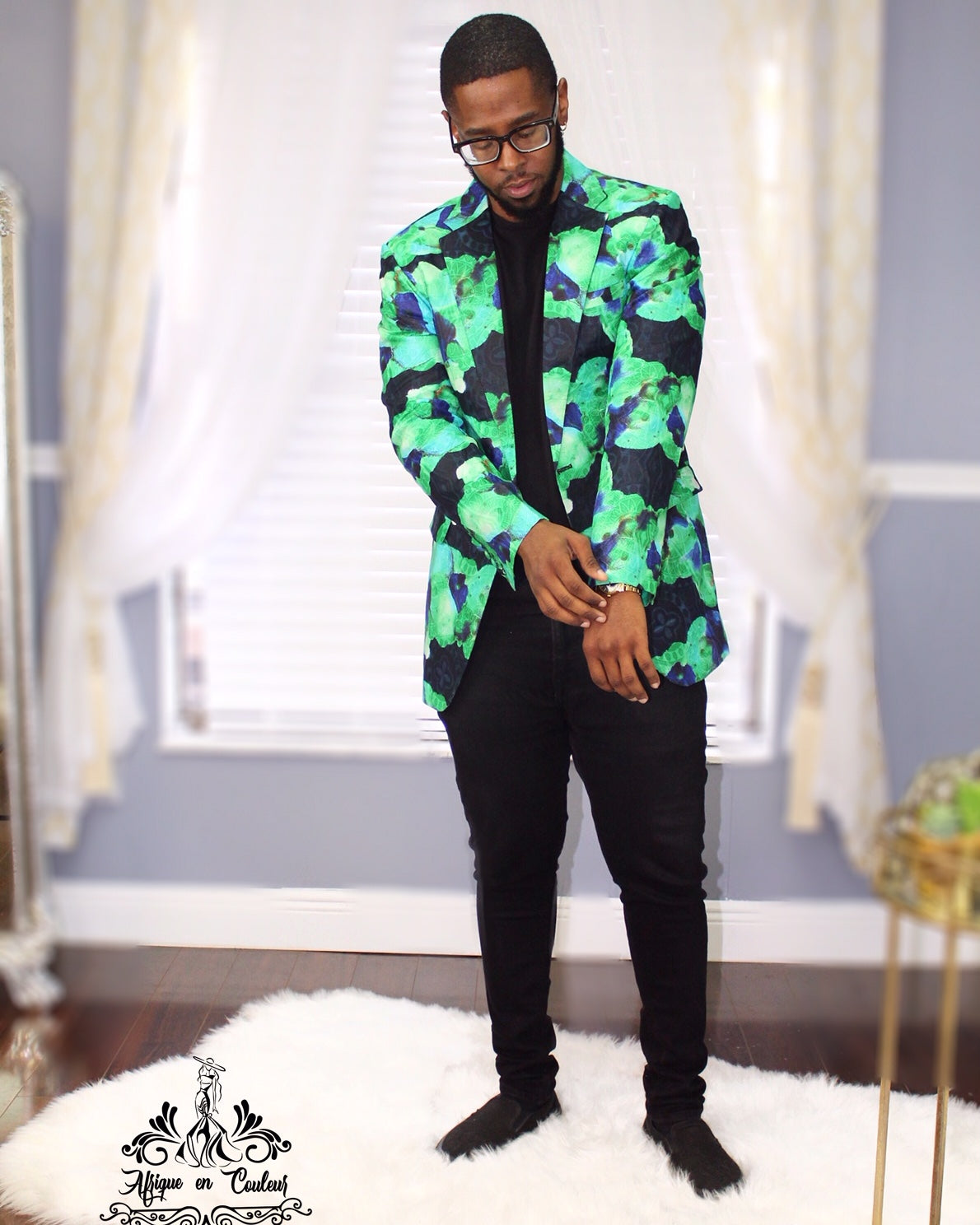 """Where the Grass In Greener"" Men's Ankara Blazer"