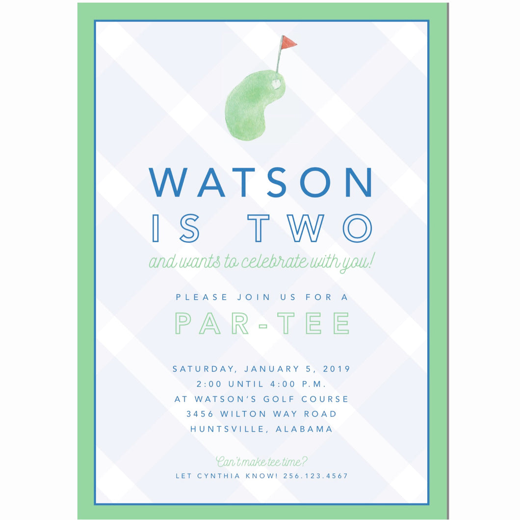 Golf Green Birthday Invitations