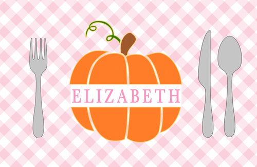 Monogram Pumpkin Placemat Pink- Full Name