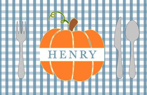 Monogram Pumpkin Placemat Blue- Full Name