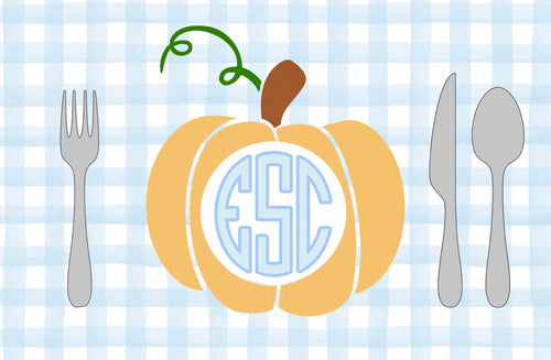 Monogram Pumpkin Placemat Blue- Initials