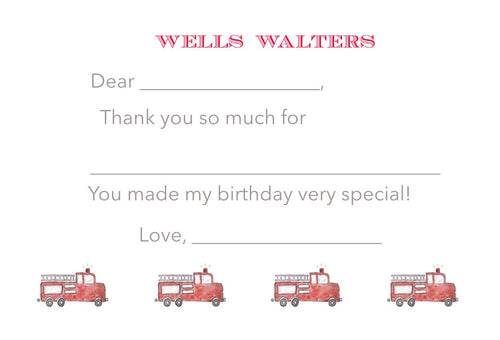 Easy Breezy Fire Truck Thank You Notes