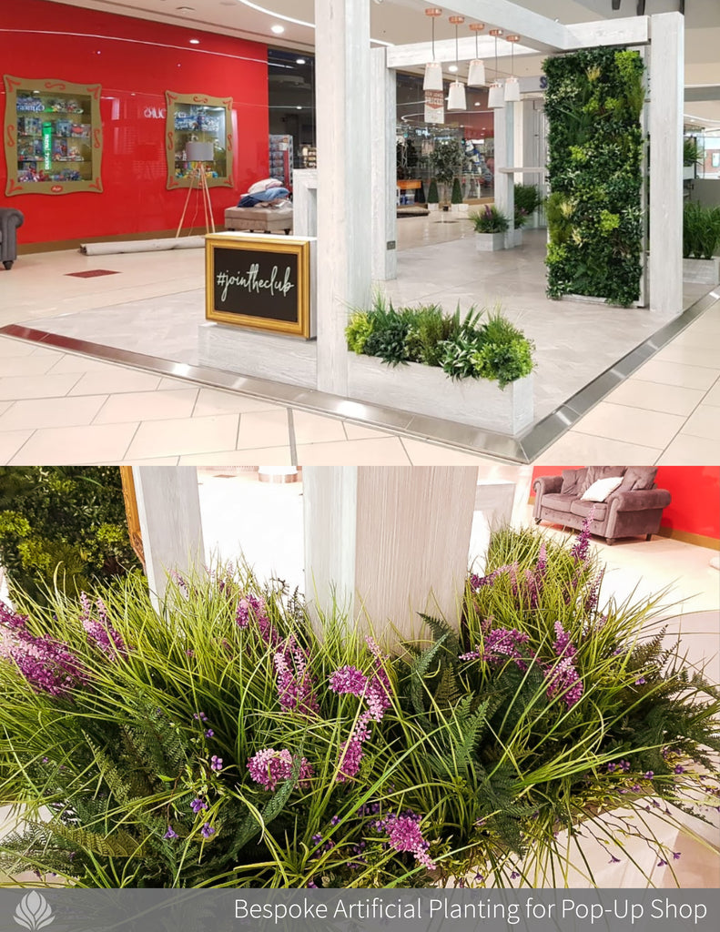 artificial plants, troughs and green walls