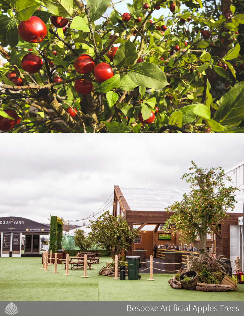 large artificial tree, apple trees at Cheltenham Festival