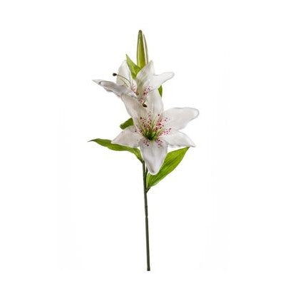 Artificial Flowers - Lily Spray - White