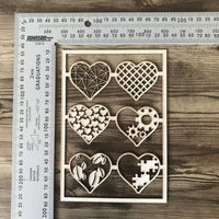 Eclectic Hearts set of 6 Chipboard