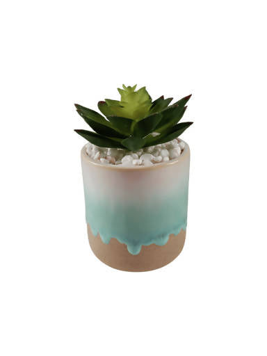 Faux Succulent – Blue Dripping Glaze