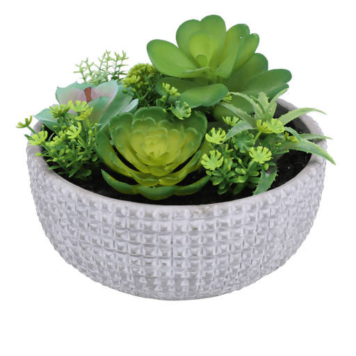 Faux Succulents – Textured Grey Bowl