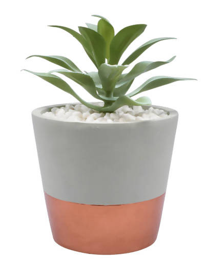 Faux Succulent – Grey and Gold Planter