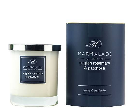 English Rosemary & Patchouli Large Glass Candle