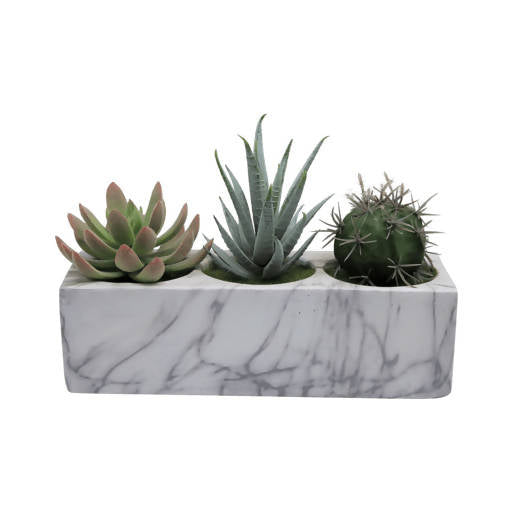 Faux Succulents – Marble Block Planter