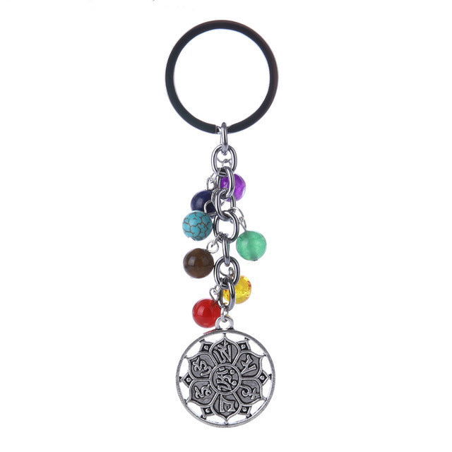 Multicolor Healing Natural Stone 7 Chakra Keychain