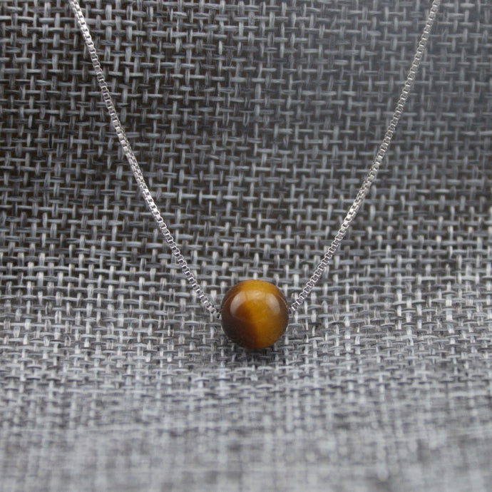 Tiger Eye Stone & Sterling Silver Necklace