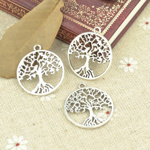 Tibetan Silver Plated Tree of life Charms Handmade