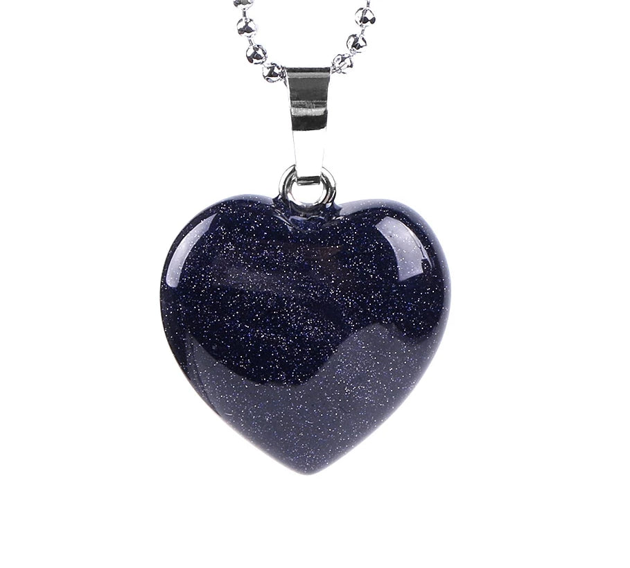 Natural Genuine Stone Heart Necklace