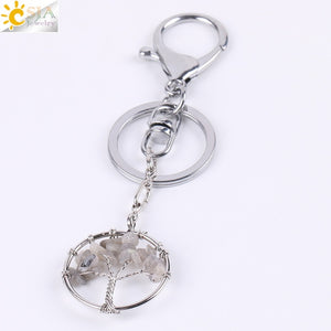 Natural Crystal Tree of Life Handmade Keychain