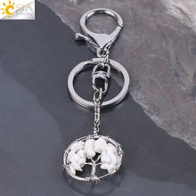 Load image into Gallery viewer, Natural Crystal Tree of Life Handmade Keychain
