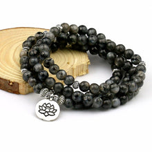 Load image into Gallery viewer, 108 Labradorite Beaded Mala Bracelet
