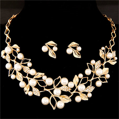 Elegant Simulated Pearl Leaf Crystal Jewelry Set