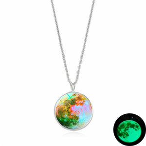 Glow In The Dark Moon Necklace Galaxy Glass Cabochon Pendant
