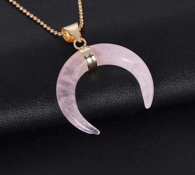 Crescent Moon Natural Stone Pendant Necklace