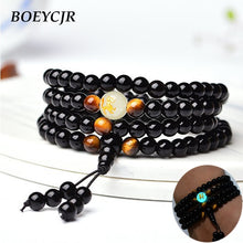Load image into Gallery viewer, Glowing Black Dragon - Buddha beads bracelet