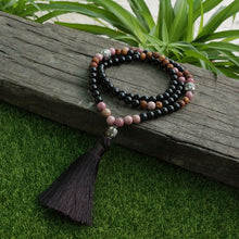 Load image into Gallery viewer, Black Onyx And Rhodochrosite 108 Beaded Mala