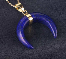 Load image into Gallery viewer, Crescent Moon Natural Stone Pendant Necklace