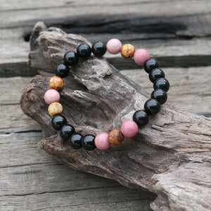 Black Onyx And Rhodochrosite Bead Bracelet