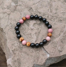 Load image into Gallery viewer, Black Onyx And Rhodochrosite Bead Bracelet