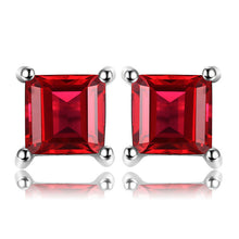 Load image into Gallery viewer, Square Gemstones 925 Sterling Silver Stud Earrings