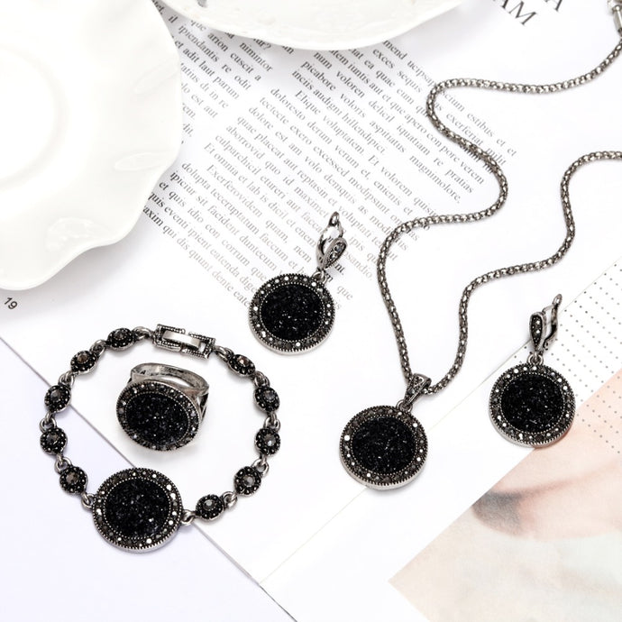Bohemia Black Rhinestone Jewelry Set