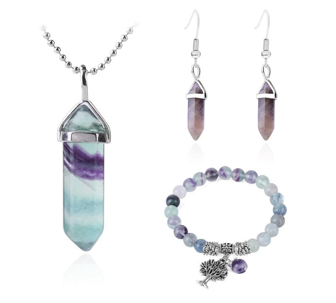 Genuine Fluorite Stone Jewelry Set