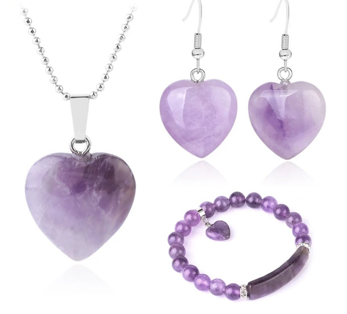 Natural Amethyst  Heart Jewelery Set