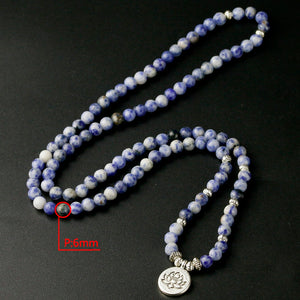 Natural Blue-Point Stone 108 beads Mala