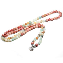 Load image into Gallery viewer, Natural Rhodochrosite With Amazonite 108 Beaded Mala