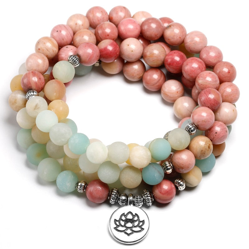 Natural Rhodochrosite With Amazonite 108 Beaded Mala