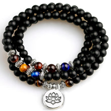 Load image into Gallery viewer, Black Onyx & Blue Tiger Eye 108 Beaded Mala