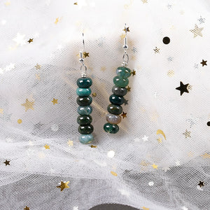 Natural Onyx Stone Drop Round Earrings