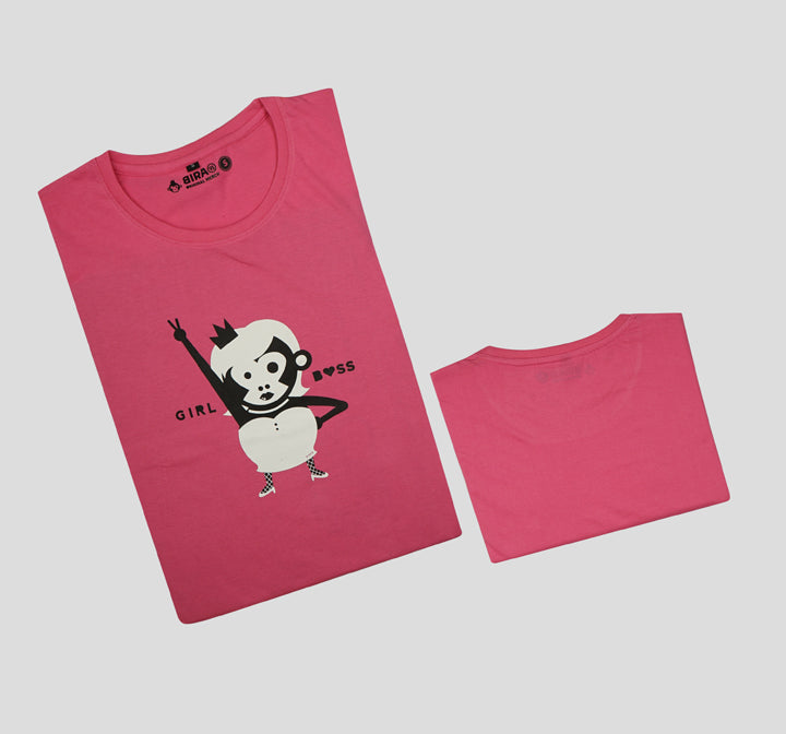 Bira 91 Girl Boss Slogan T-shirt - Dark Pink