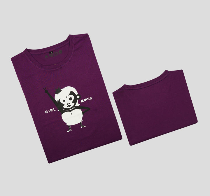Bira 91 Girl Boss Slogan T-shirt - Purple