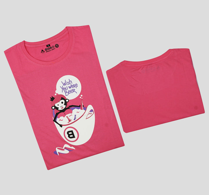 Bira 91 Wish You Were Beer Slogan T-shirt - Dark Pink