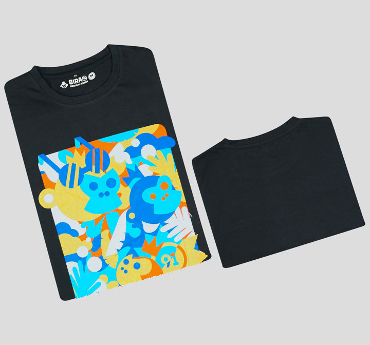 Bira 91 Monkey & Foliage Graphic T-shirt - Navy Blue