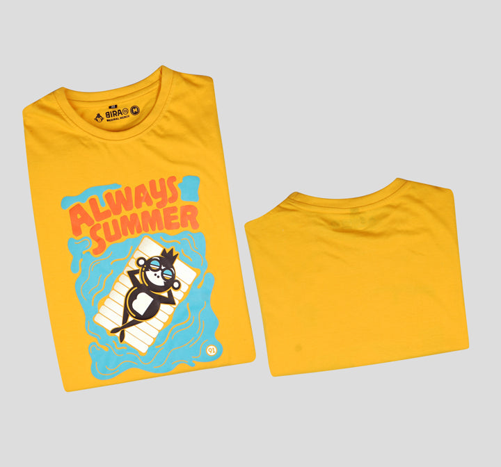 Bira 91 Always Summer Floating Monkey Illustration T-Shirt - Yellow