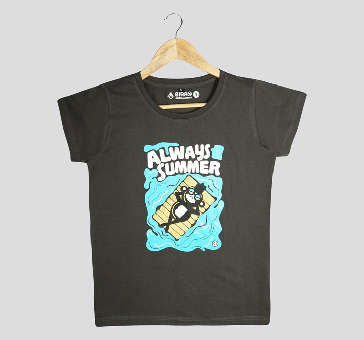 Bira 91 Always Summer Floating Monkey Illustration T-Shirt - Charcoal Grey